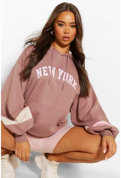 Colourblock New York Slogan Oversized Hoody, Chestnut marron