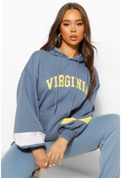Indigo Colourblock Virginina Slogan Hoody