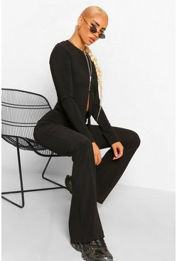 Black Rib Zip Through Cardigan and Flared Trouser Co-ord