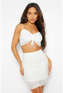 Champagne beige Sequin Ruched Front Cami Top and Skirt Co-ord