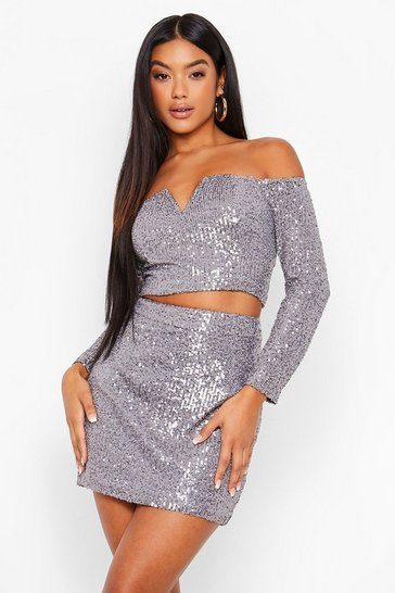 Silver Sequin Off Shoulder V Top and Mini Skirt Co-ord
