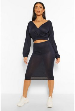 Navy Soft Rib Wrap Over Button Top and Midi Skirt