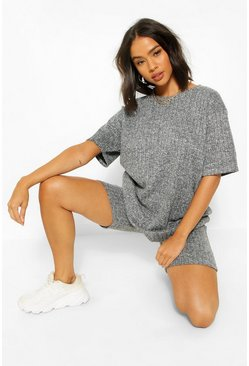 Grey Knit Rib Oversize T-Shirt and Cycling Short Co-ord