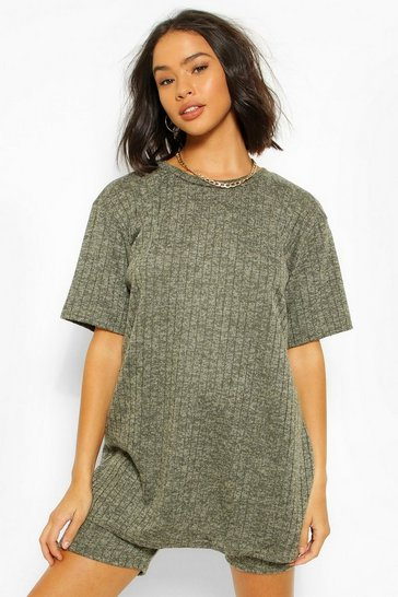 Khaki Knit Rib Oversize T-Shirt and Cycling Short Co-ord