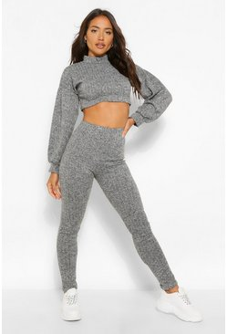 Grey Knit Rib Volume Sleeve Top and Legging Co-ord