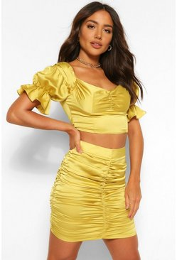 Olive green Satin Bardot Corset Style Top and Skirt Co-ord