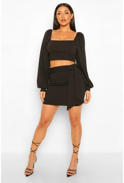 Black Volume Sleeve Top and Belted Mini Skirt Co-ord