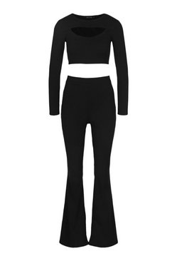 Black Cut Out Crop Top and Flare Trouser Co-ord