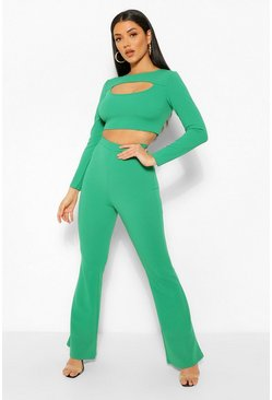 Forest green Cut Out Crop Top and Flare Trouser Co-ord