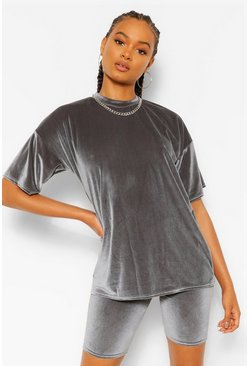 Grey Velvet Oversized T-Shirt and Cycling Co-ord