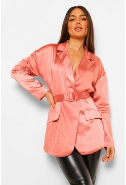 Rust orange Hammered Satin Belted Blazer