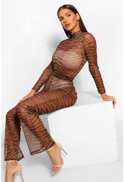 Tan brown Tiger Print Mesh Flared Leg Trousers