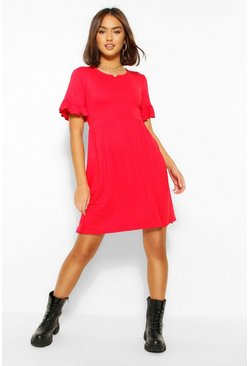 Red Basic Frill Sleeve Smock Dress