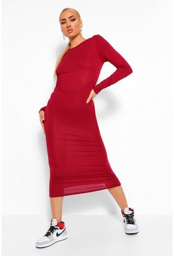 Berry red Basic Long Sleeve Crew Neck Maxi Dress