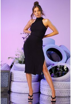Black Recycled Racer Neck Ribbed Midi Dress