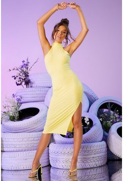 Lemon yellow Recycled Racer Neck Ribbed Midi Dress