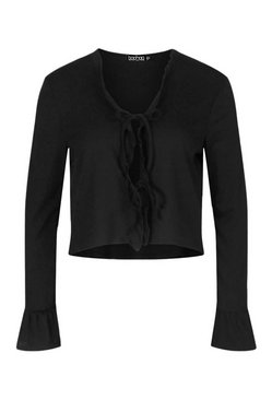 Black Plus Recycled Tie Front Frill Hem Ribbed Cardigan