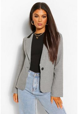 Black Contrast Collar Check Fitted Blazer