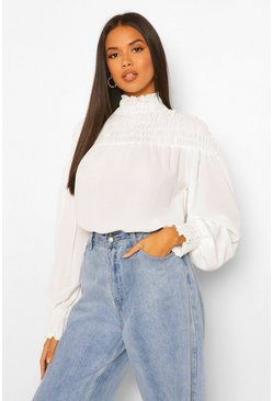 White Woven Shirred High Neck Blouse