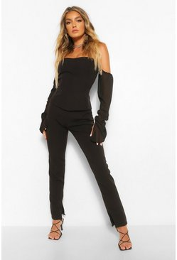 Black Tailored Split Hem Trouser