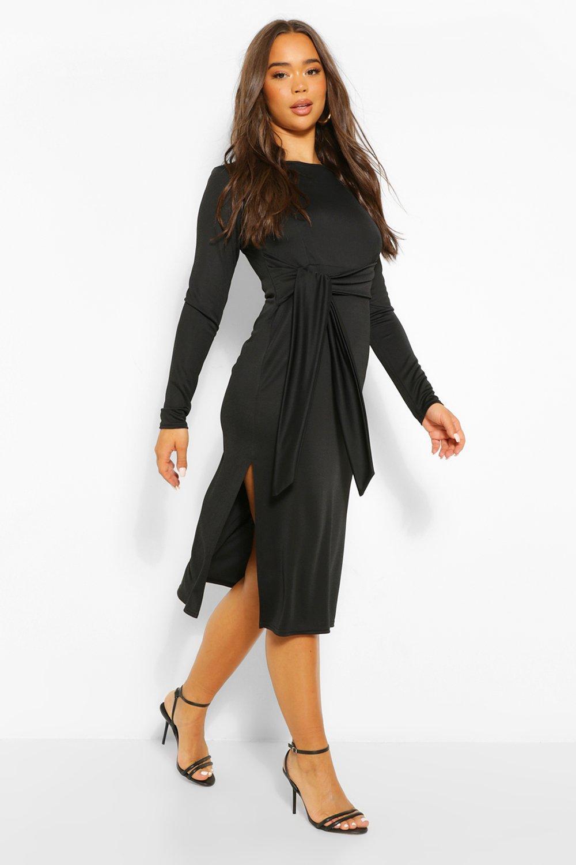 DRESSES Crepe Tie Long Sleeve Midi Dress
