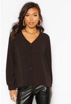 Black Woven Button Through Long Sleeve Blouse