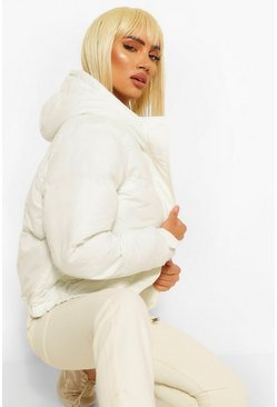 Cream white Funnel Neck Puffer Jacket