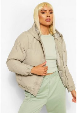 Sage green Funnel Neck Puffer Jacket