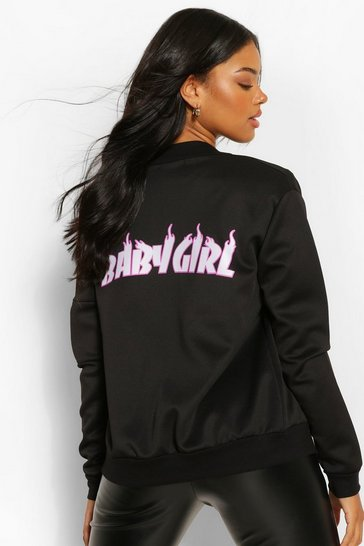 Black Baby Girl Flames Back Print Bomber Jacket