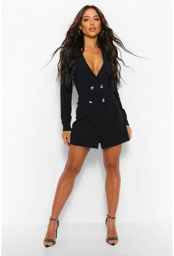 Black Cut Out Back Blazer Dress