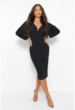 Black Ruched Bust Balloon Sleeve Midi Dress