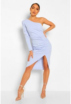 Blue One Shoulder Ruched Mini Dress