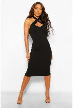 Black Cross Over Bodycon Midi Dress