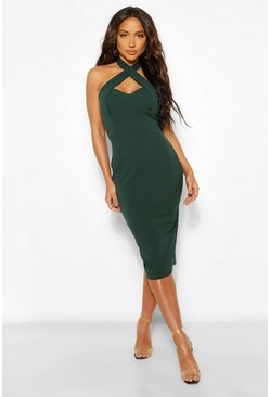 Green Cross Over Bodycon Midi Dress
