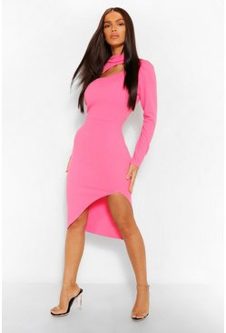 Cerise pink High Neck Cut Out Midi Dress