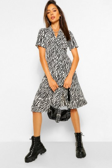 Black Zebra Print Shirt Style Midi Dress