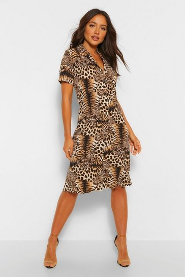 Tiger And Leopard Mix Shirt Style Midi Dress