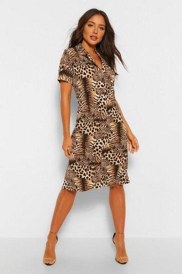 Tiger And Leopard Mix Shirt Style Midi Dress
