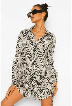 Black Zebra Print Rouched Side Shirt Dress