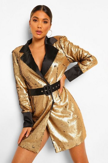 Black 2 Tone Sequin Belted Blazer Dress