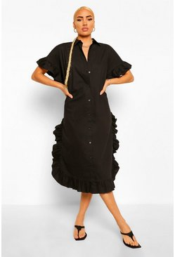 Black Extreme Ruffle Midi Shift Dress