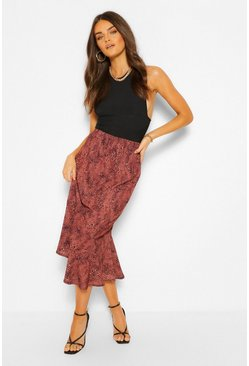 Sand beige Mixed Animal Print Drop Hem Midi Skirt