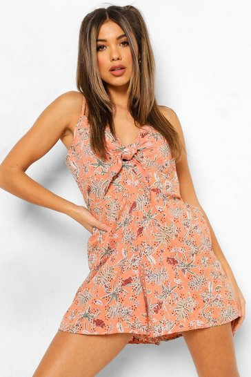 Pink Floral Print Broderie Anglaise Tie Front Playsuit