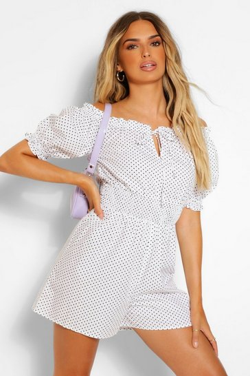 White Woven Polka Dot Puff Sleeve Shirred Waist Playsuit