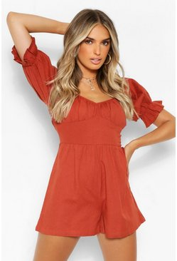 Rust orange Woven Puff Sleeve Bardot Playsuit