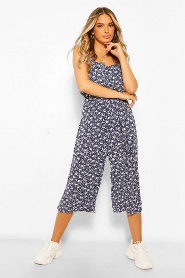 Navy Ditsy Floral Woven Self Belted Culotte Jumpsuit