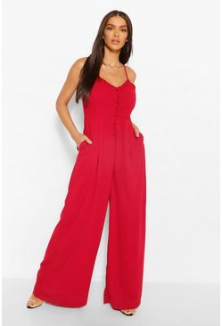 Cranberry red Woven Strappy Button Front Wide Leg Jumpsuit
