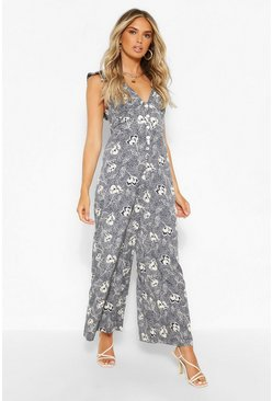 Floral Print Woven Frill Sleeve Wide Leg Jumpsuit, Navy azul marino