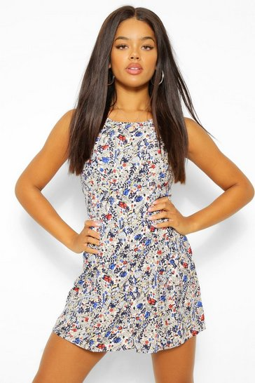 Blue Ditsy Floral Print  Sleeveless Flippy Playsuit
