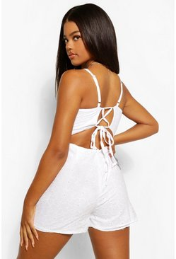 White Broderie Anglaise Strappy Cross Back Playsuit
